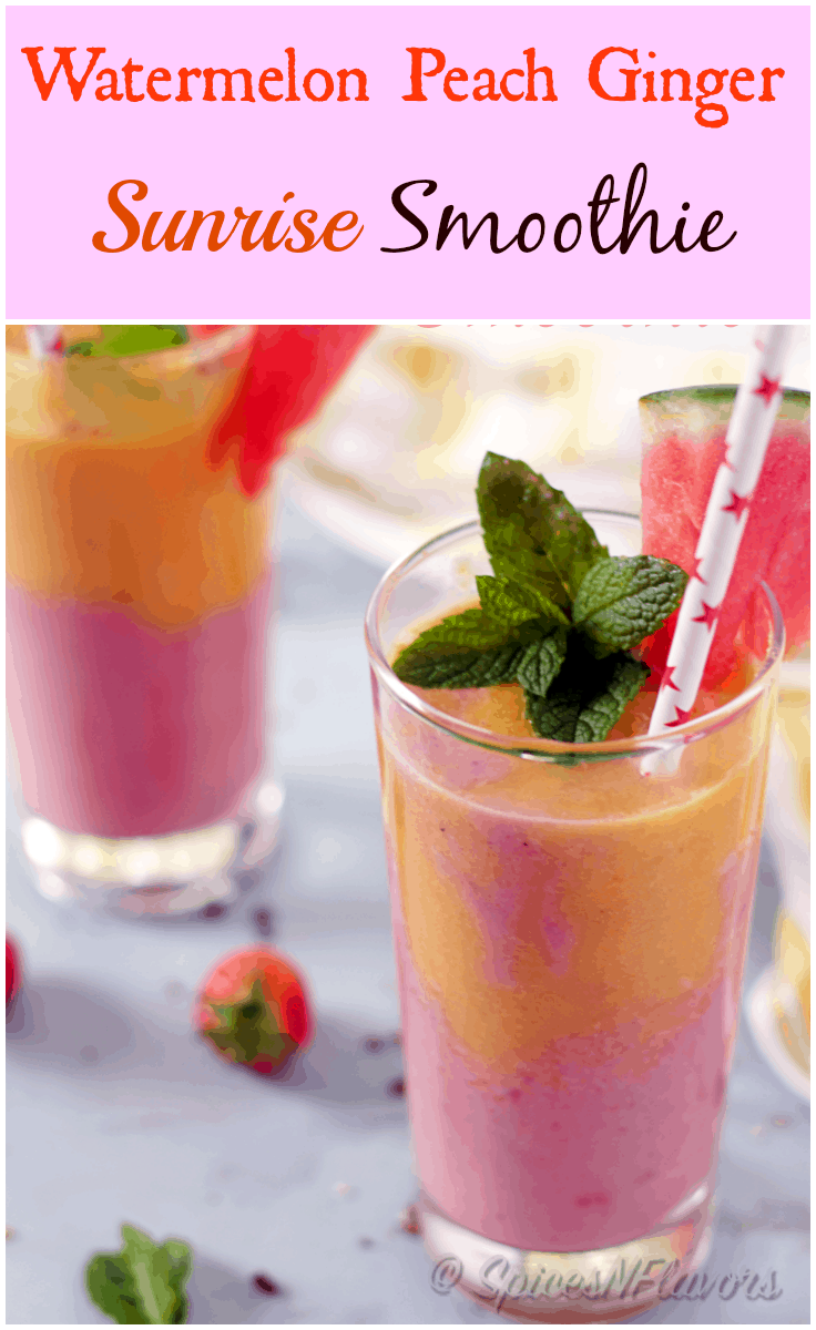 watermelon-peach-ginger-sunrise-smoothie a healthy gluten free and vegan smoothie perfect breakfast for back to school