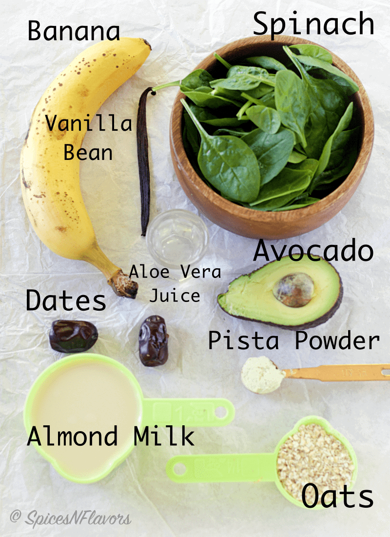 classic-vanilla-green-smoothie green smoothie ingredients food photography