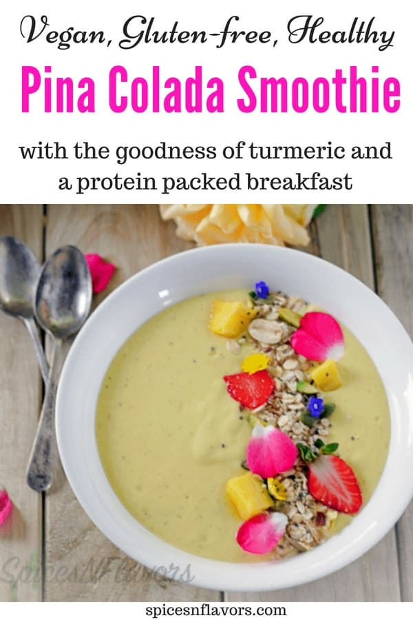 pin image of pina colada smoothie bowl