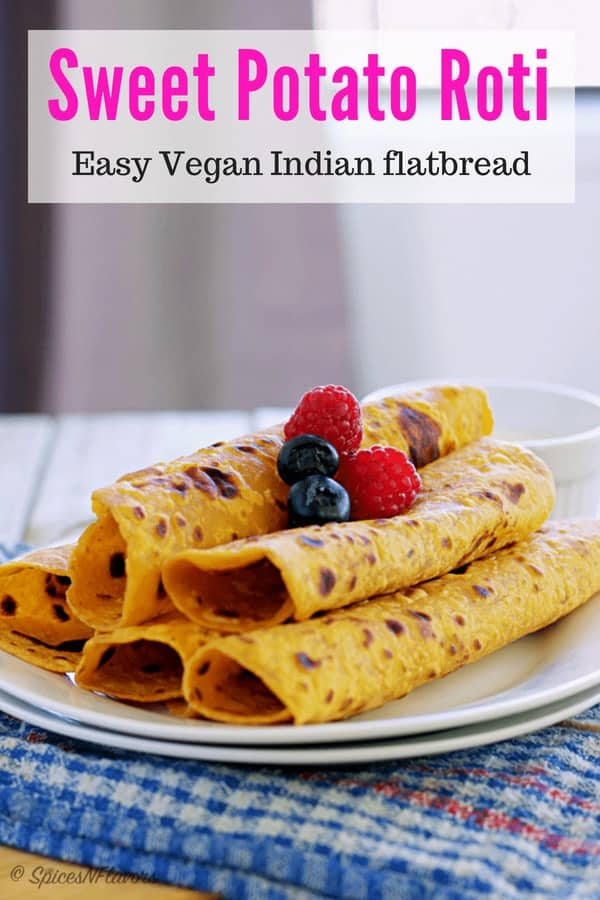 pin image of kumara chapati or sweet potato roti