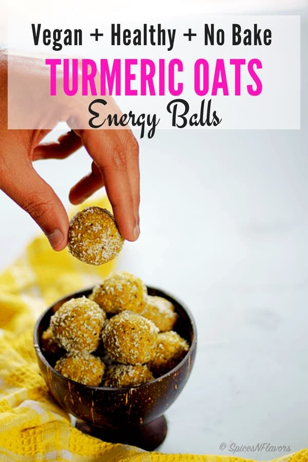 pin image of turmeric and oats energy balls