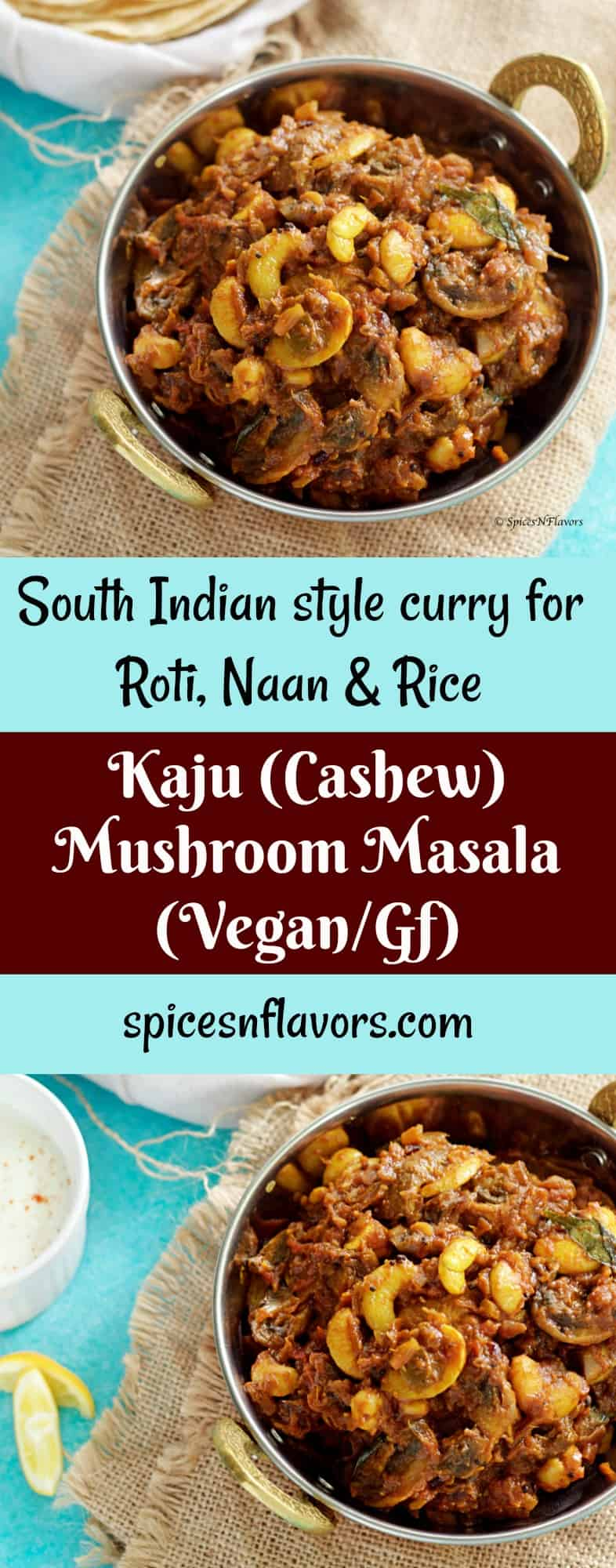 kaju-mushroom-masala- south-indian-style-curry indian masala mushroom photography roti rice naan vegan gluten free paleo recipes