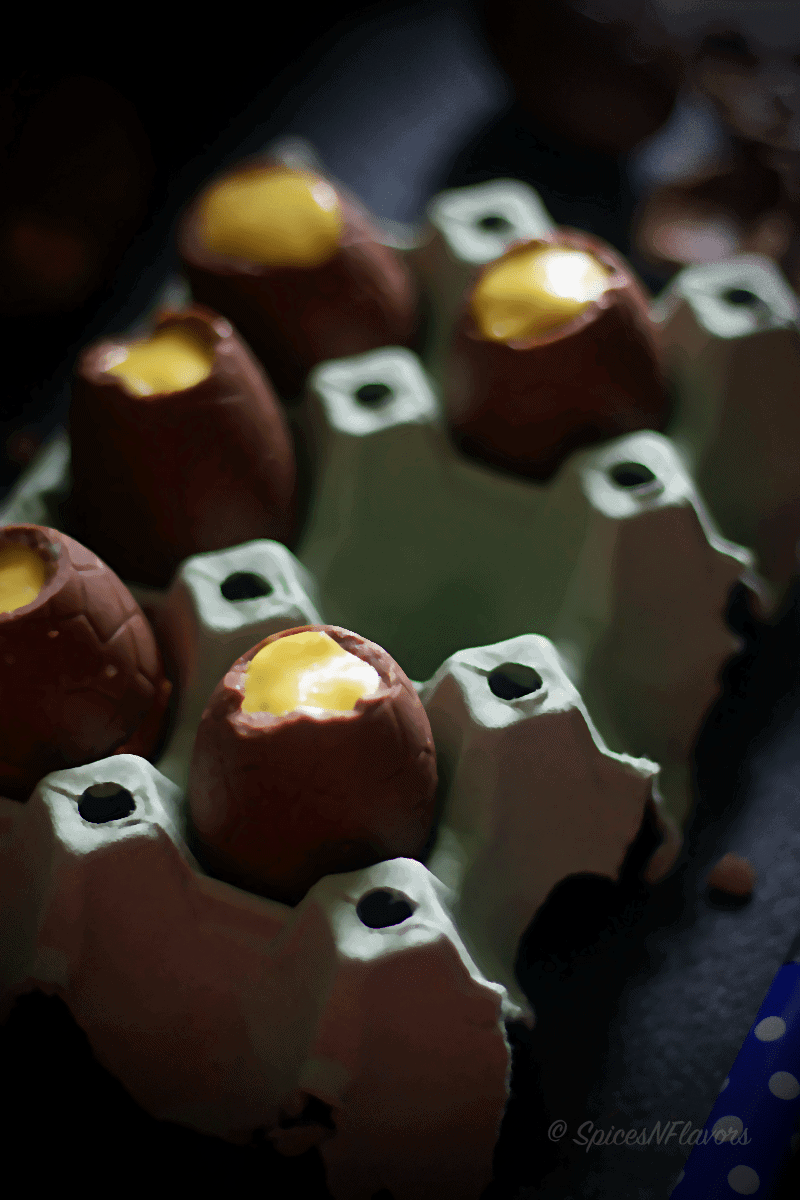 mango coconut mousse in chocolate easter eggs