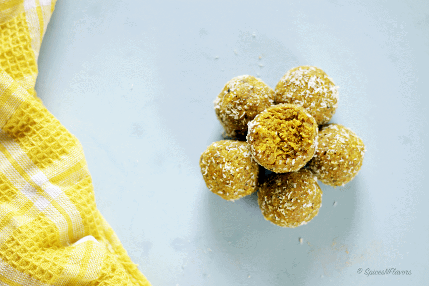 Turmeric and Oats Energy Balls Laddu