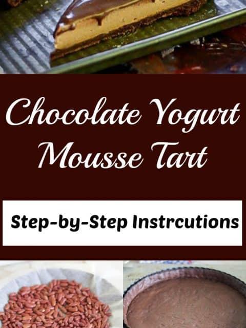 chocolate yogurt mousse tart pin image