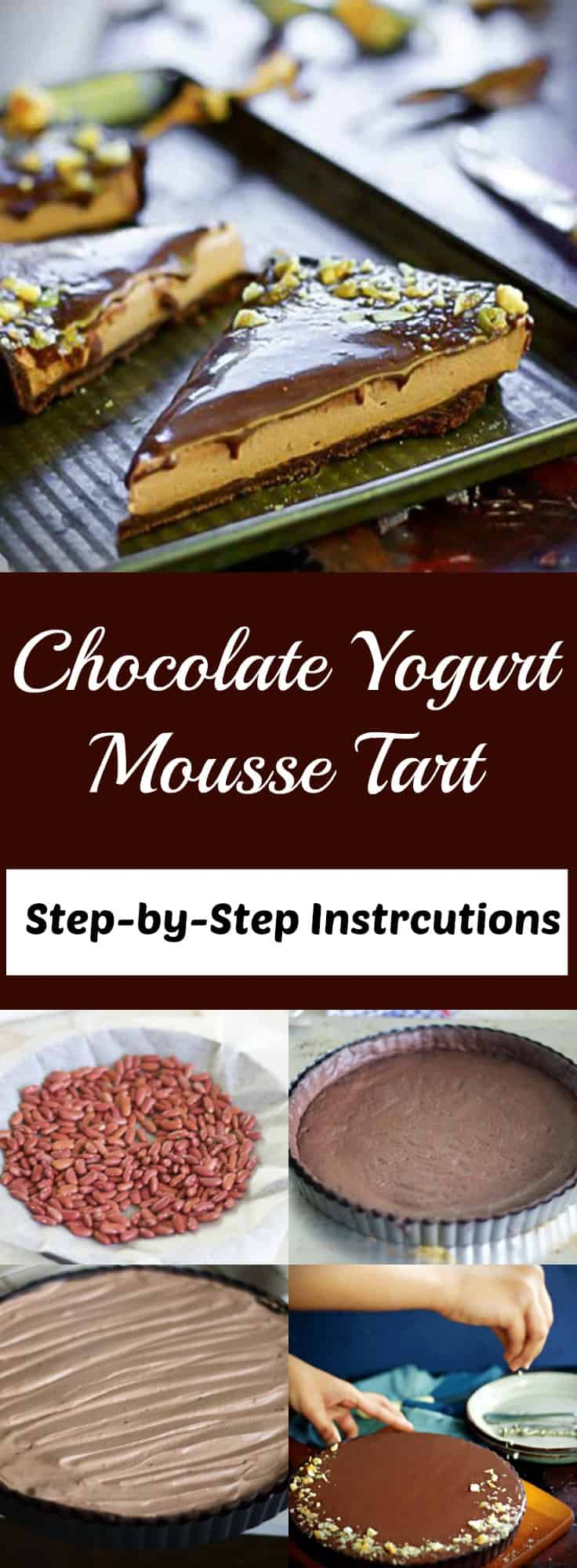chocolate yogurt mousse tart pin image
