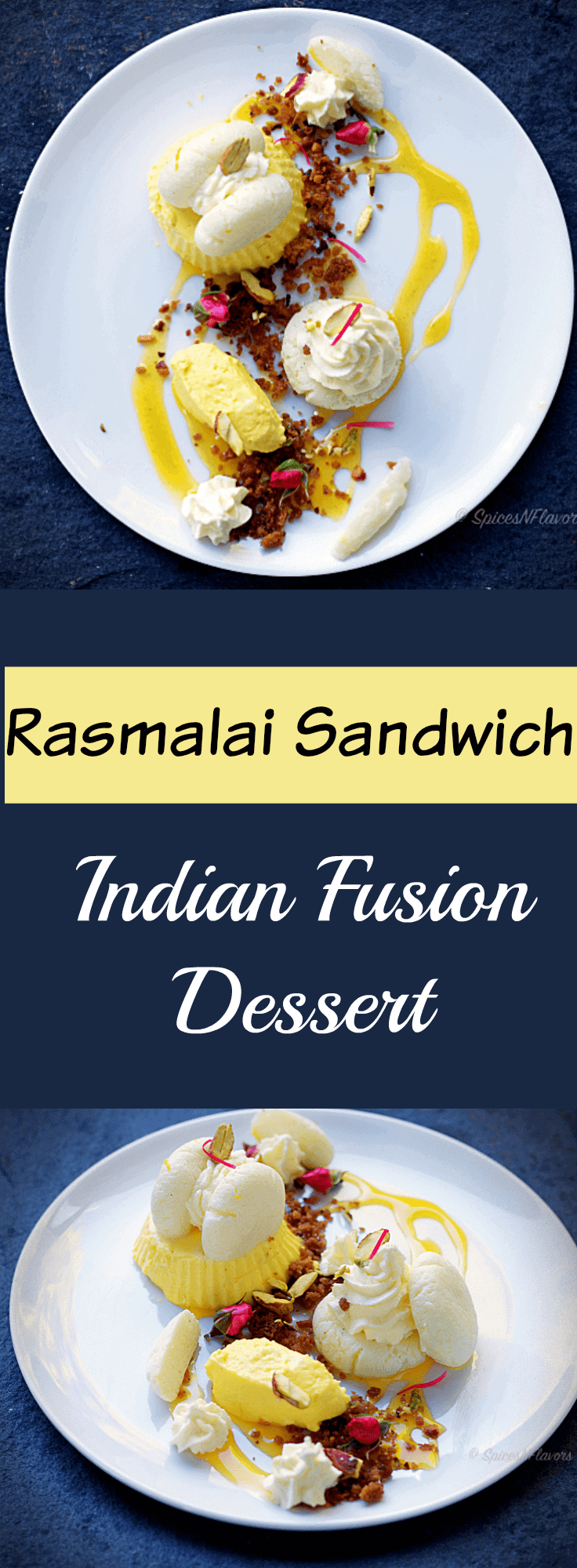 Malai Sandwich with Kesar Mousse Cardamom Crumble and Passionfruit Coulis indian fusion dessert rasmalai