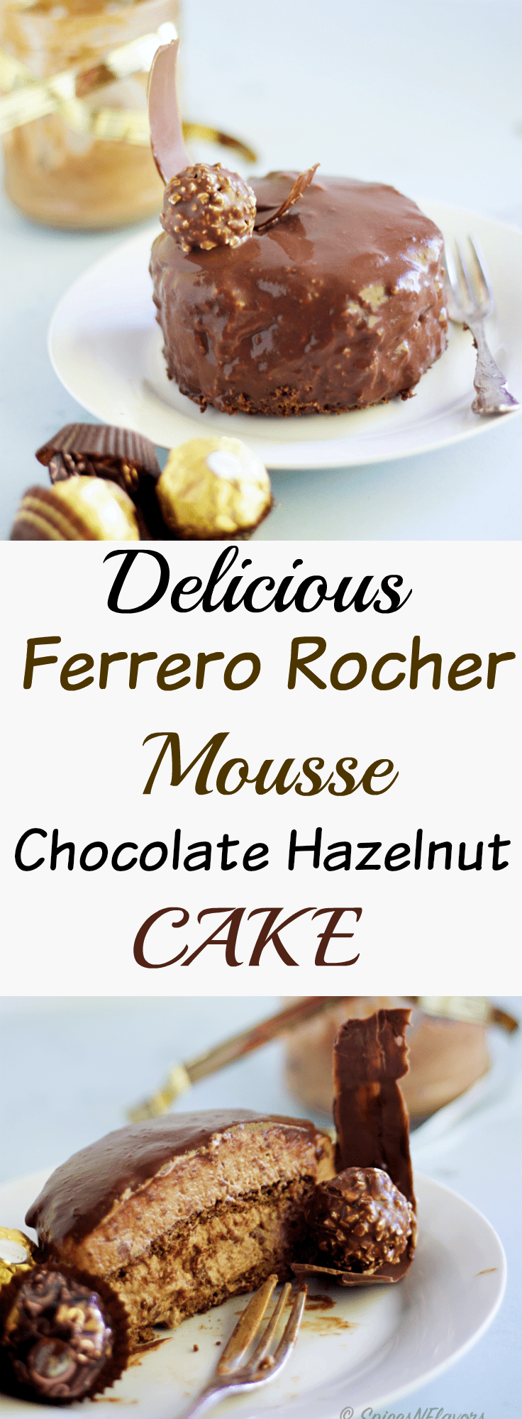 pin image of ferrero rocher mousse cake