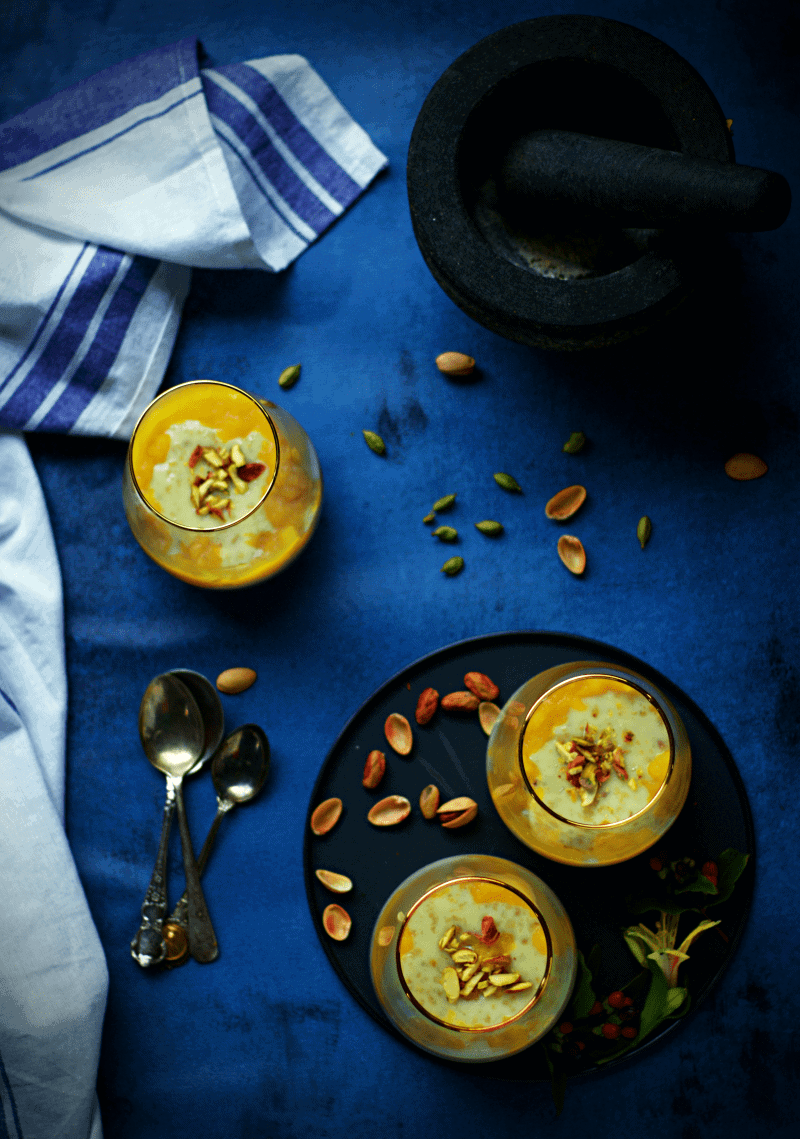 Oats payasam kheer with mango puree