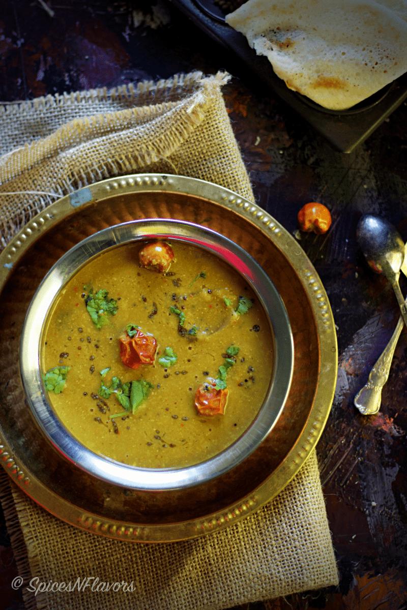 Arachuvitta Sambar using freshly ground spices no sambhar powder