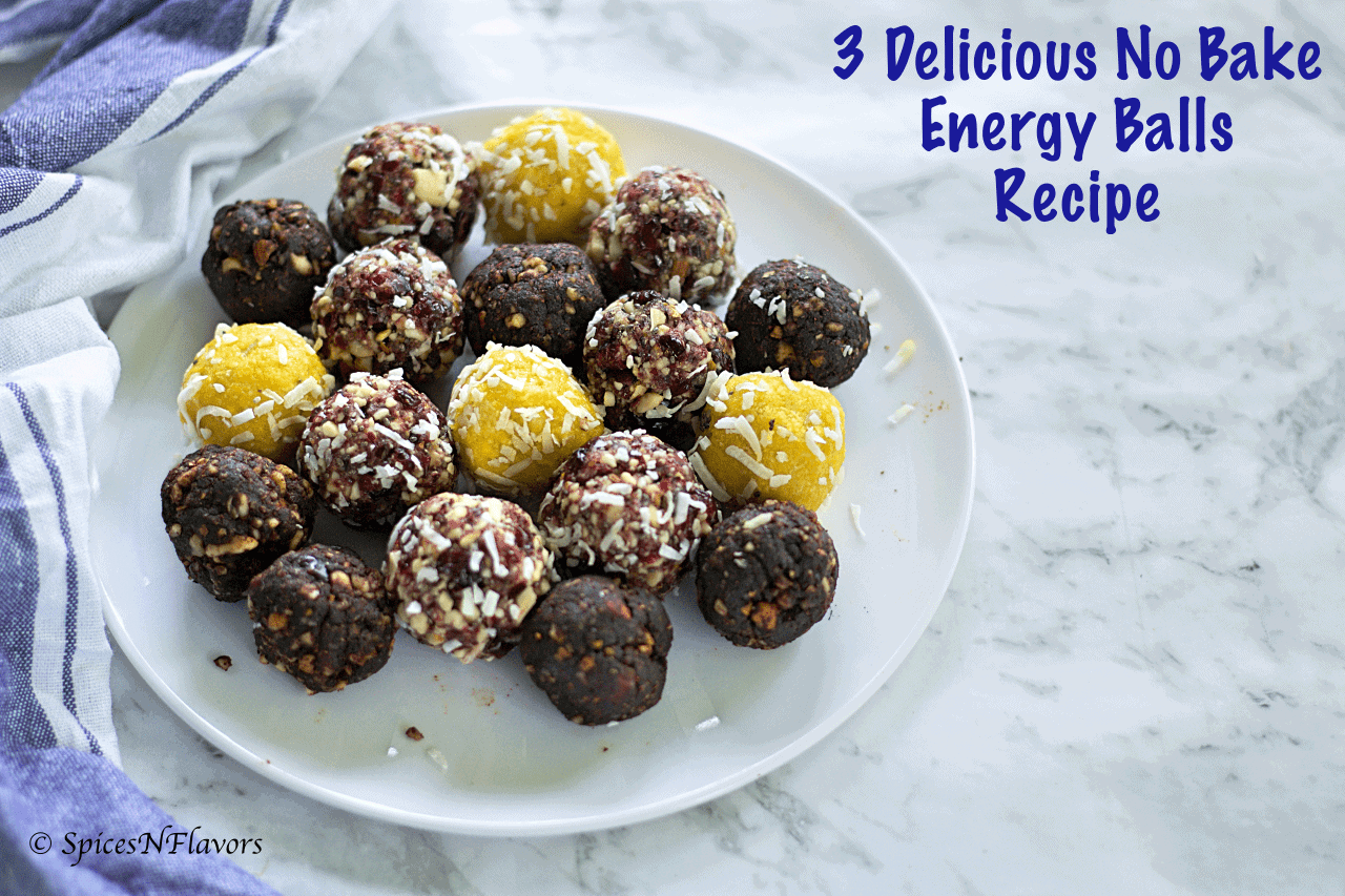3 Healthy Energy Balls recipe ideas cranberry vanilla lemon coconut brownie cocoa powder