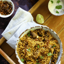 how to make Mushroom Biryani in Pressure Cooker simple and easy quick fix one pot dinner recipe