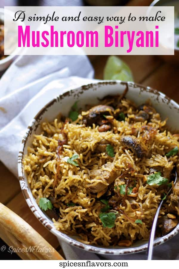 pin image of mushroom biryani made in pressure cooker and served in a bowl with raita