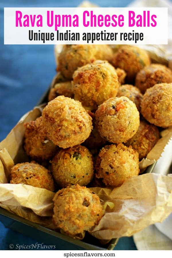 pin image of rava upma cheese balls recipe made using leftover upma