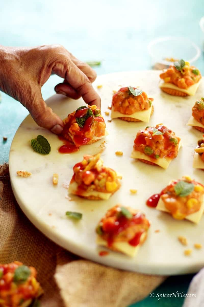 Dinner Party Starters Ideas Part - 33: Cheesy Monaco Bites Monaco Biscuit Party Topping Starter Recipe Easy Party  Starter Recipe Indian Festival Recipe