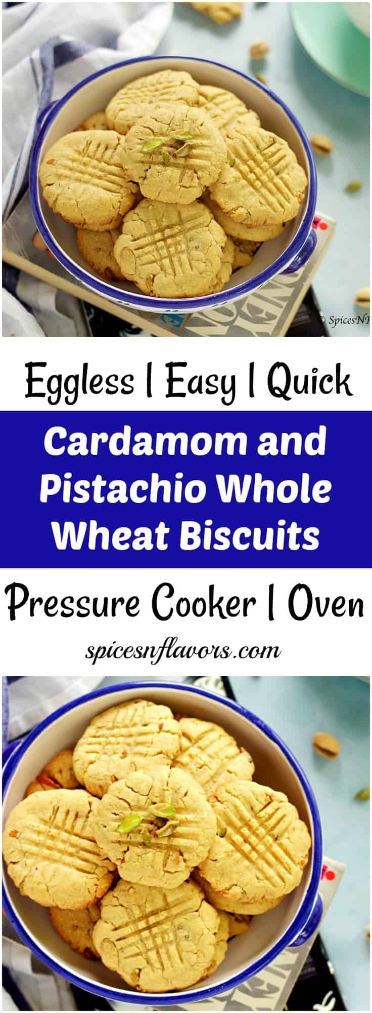 cardamom and pistachio whole wheat cookies pin image