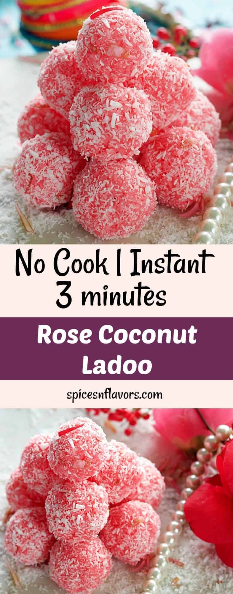 rose coconut laddu gulab nariyal laddu laddoo ladoo indian festival recipe indian sweets no cook instant sweets indian sweets diwali recipe festival recipes