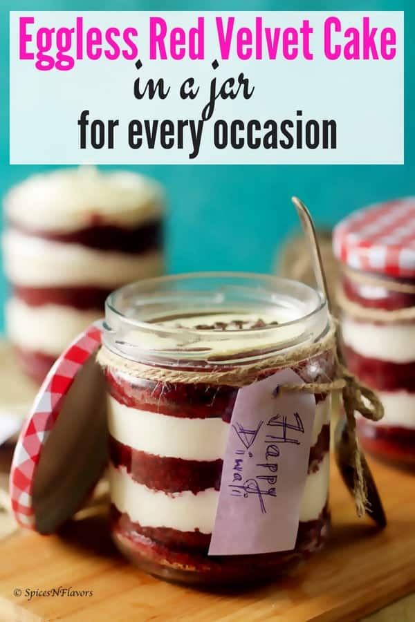 pin image of eggless red velvet cake in a jar