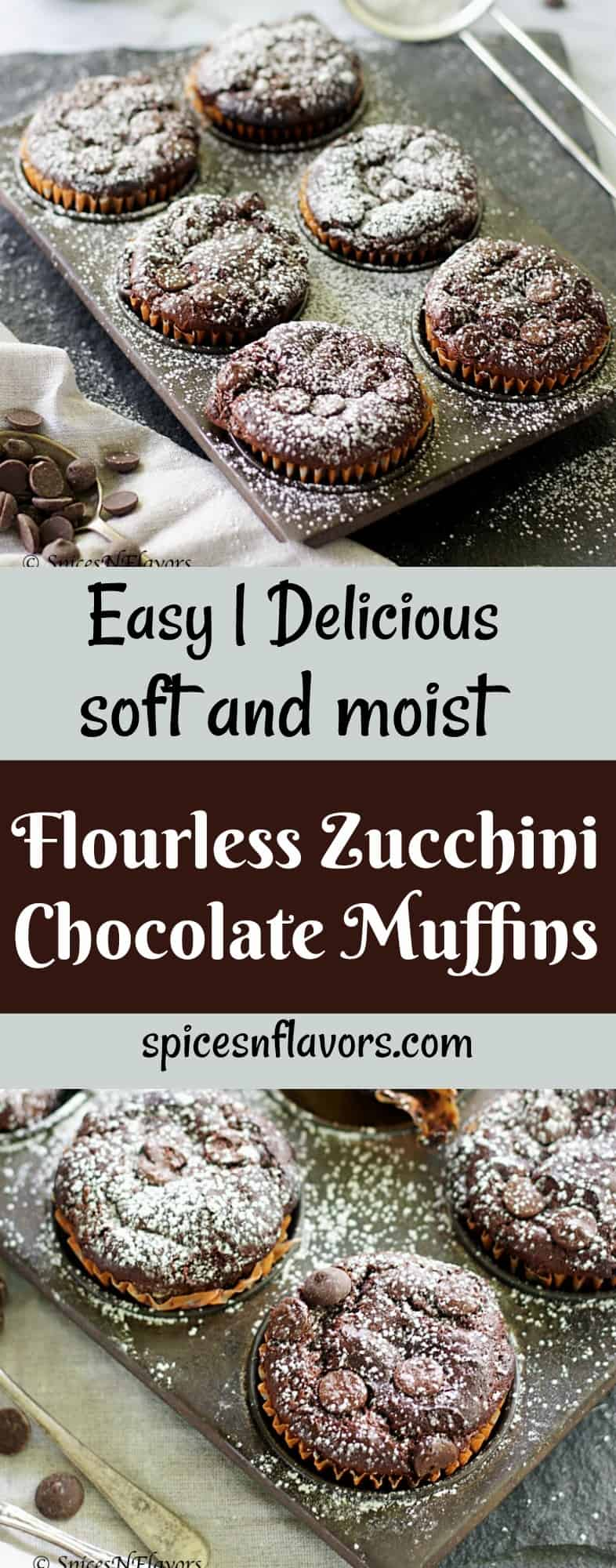 pin image of flourless chocolate zucchini muffins