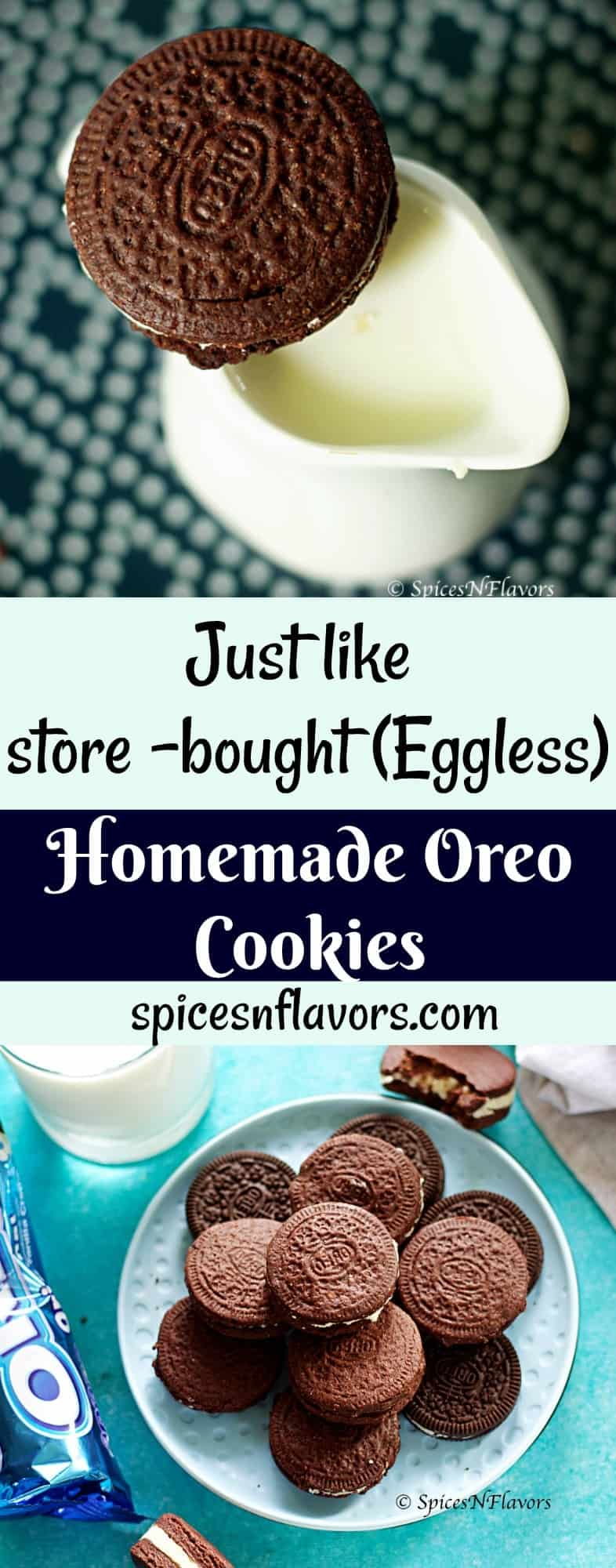 pin image of eggless homemade oreo cookies
