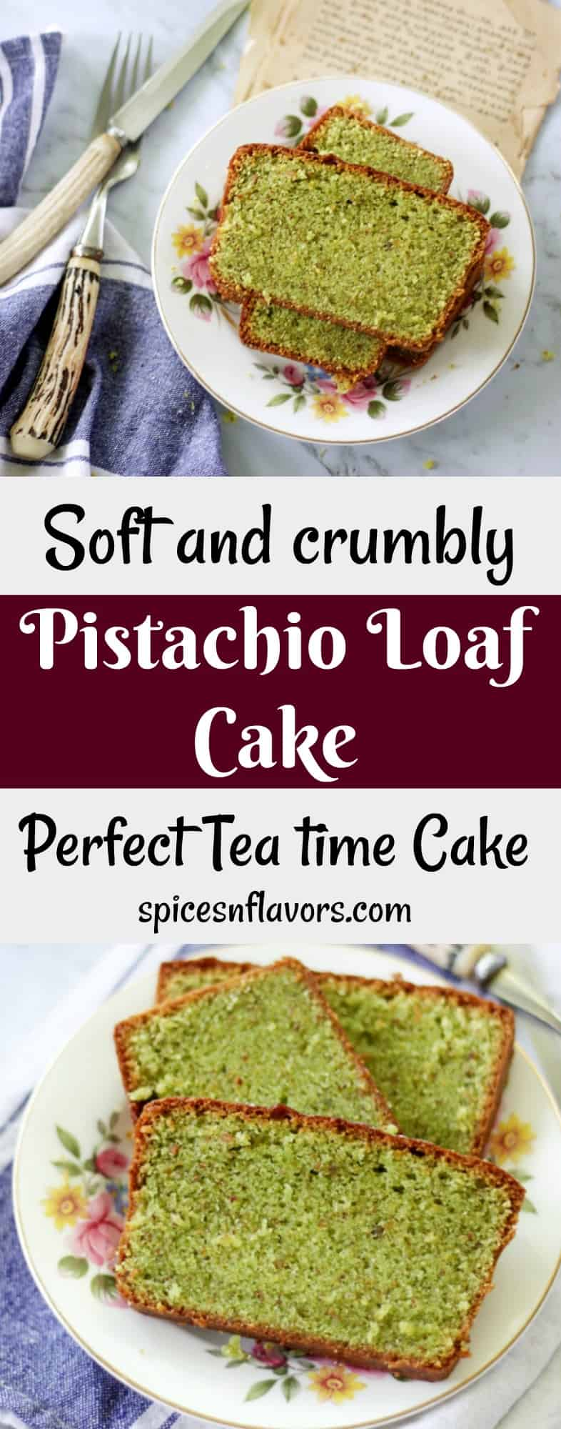 pin image of pistachio loaf cake