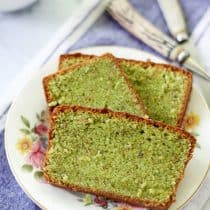 pistachio loaf cake slices showing the texture