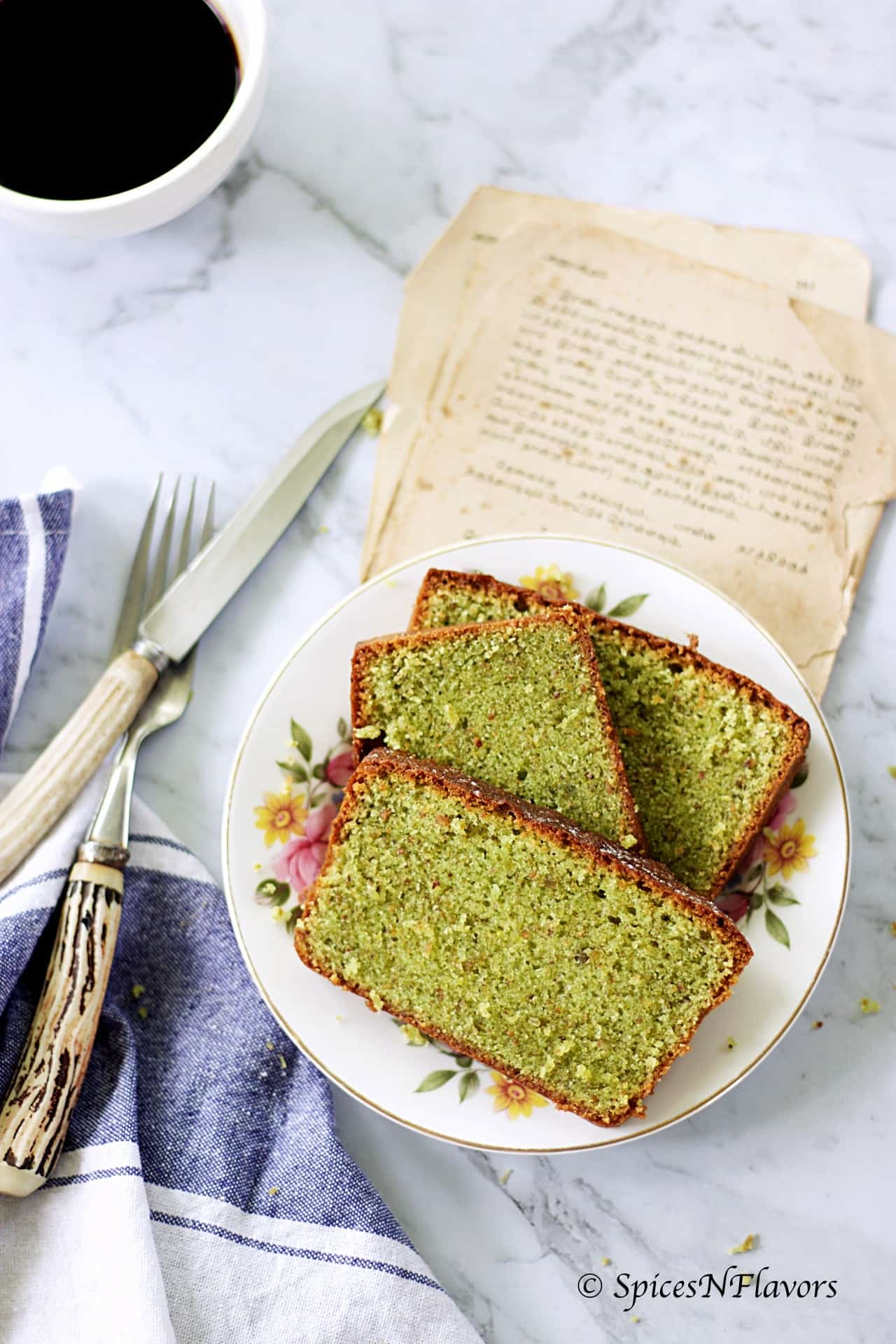 horizontal image of pistachio loaf cake showing the texture