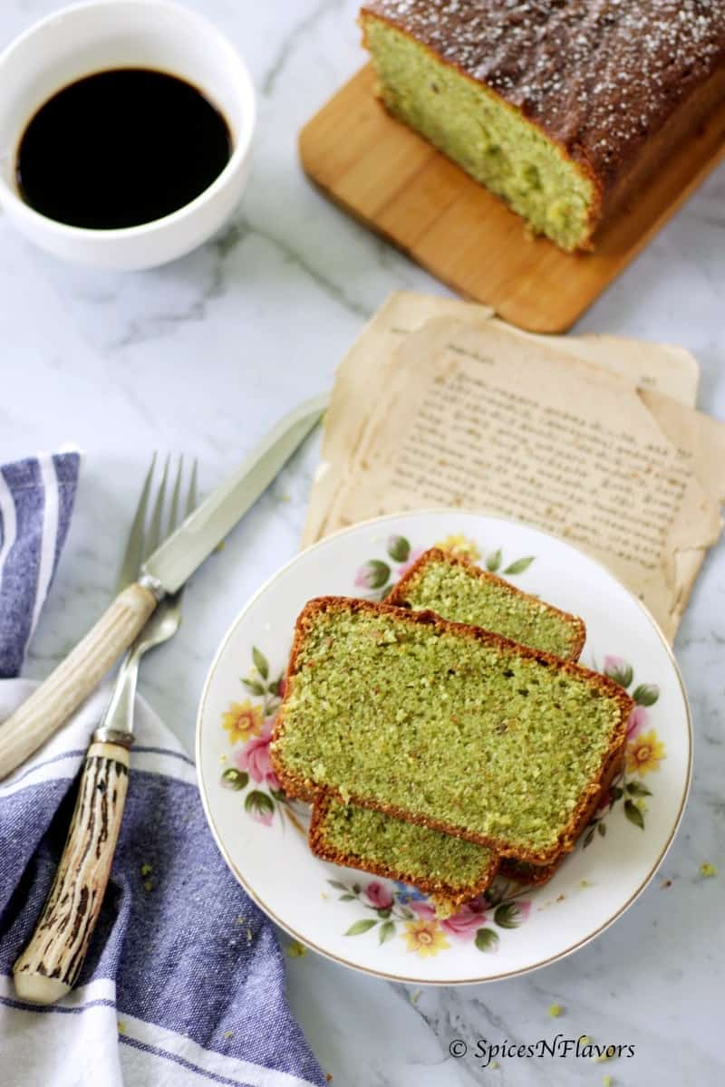 pistachio loaf cake with food styling effects