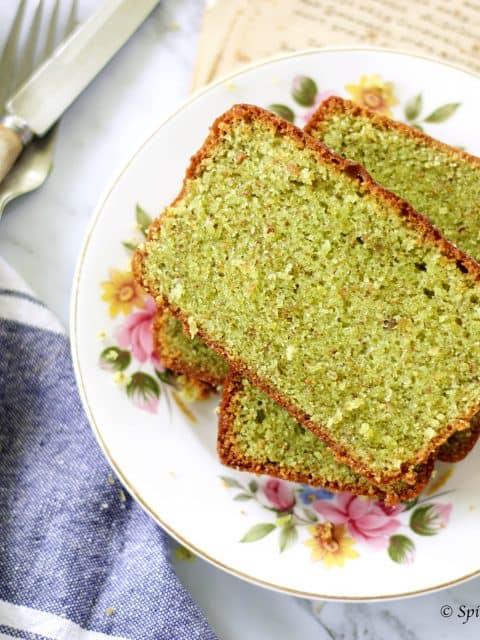 horizontal image of pistachio loaf cake recipe