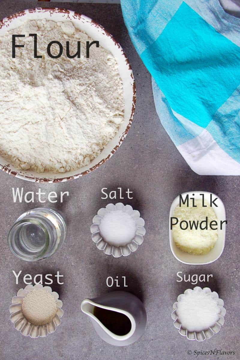 ingredients needed to make the no knead bread loaf
