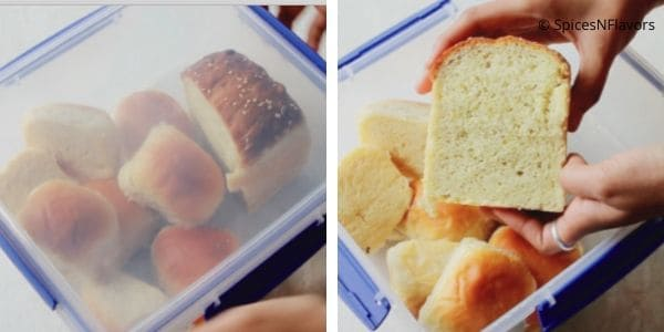 storing the bread in an airtight container