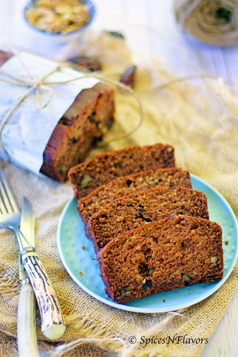 eggless dates and walnut loaf cake dates and walnut cake, healthy eggless cake, no sugar cake, dates and walnut loaf cake, loaf cake photography eggless loaf cake tea time cakes diabetic friendly cake whole wheat cake