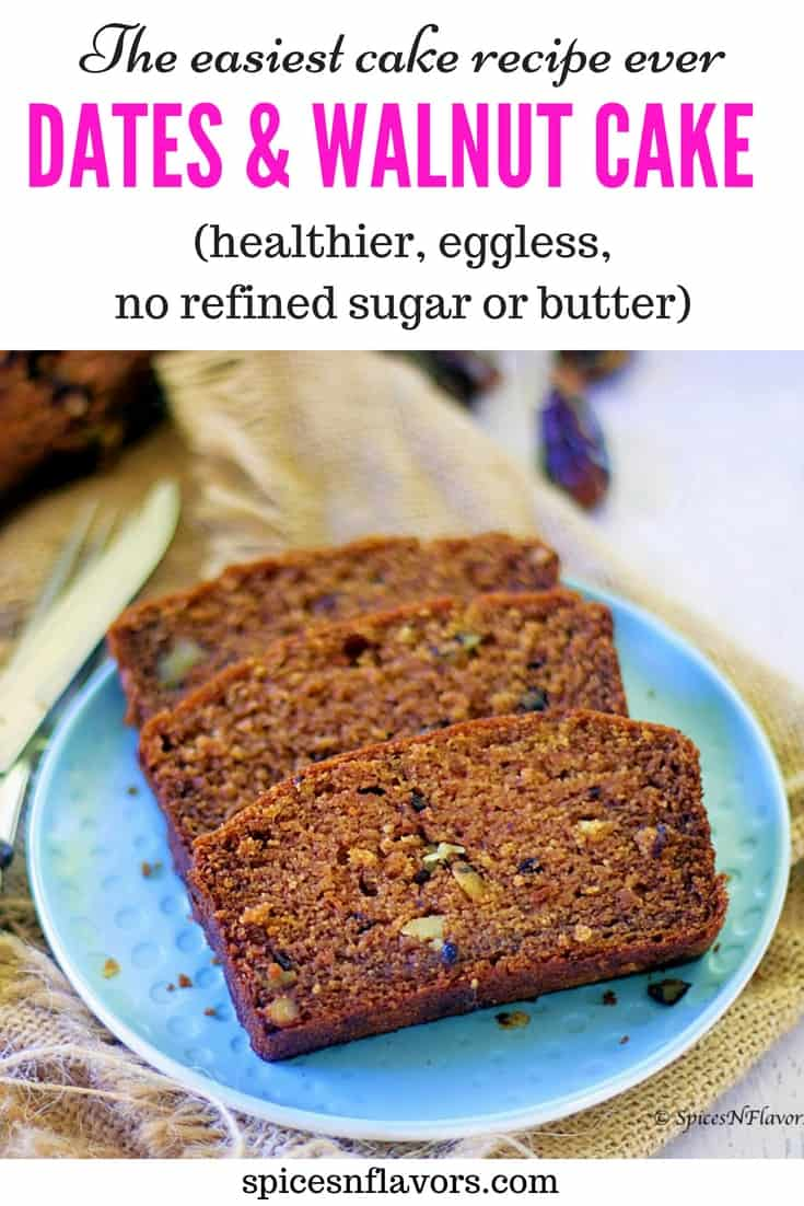 pin image of eggless dates and walnut loaf cake