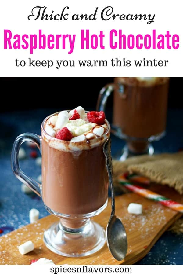 pin image of homemade raspberry hot chocolate
