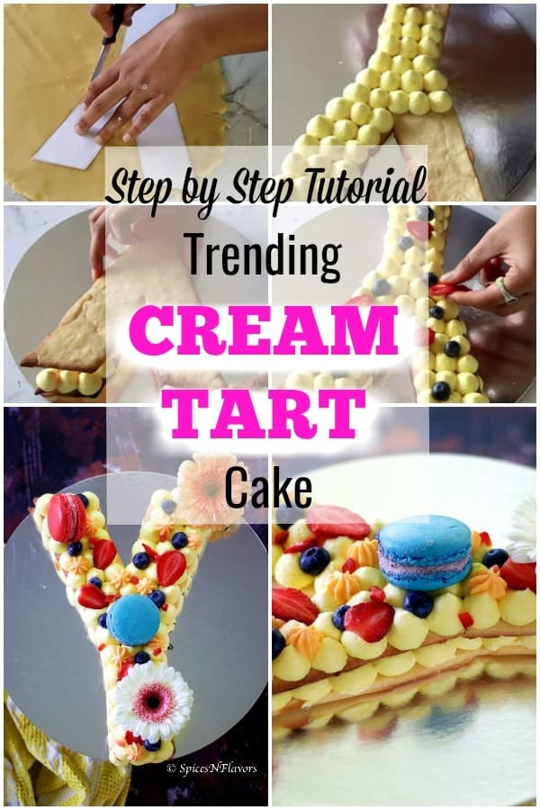 pin image of trending alphabet cream tart cake or number cake