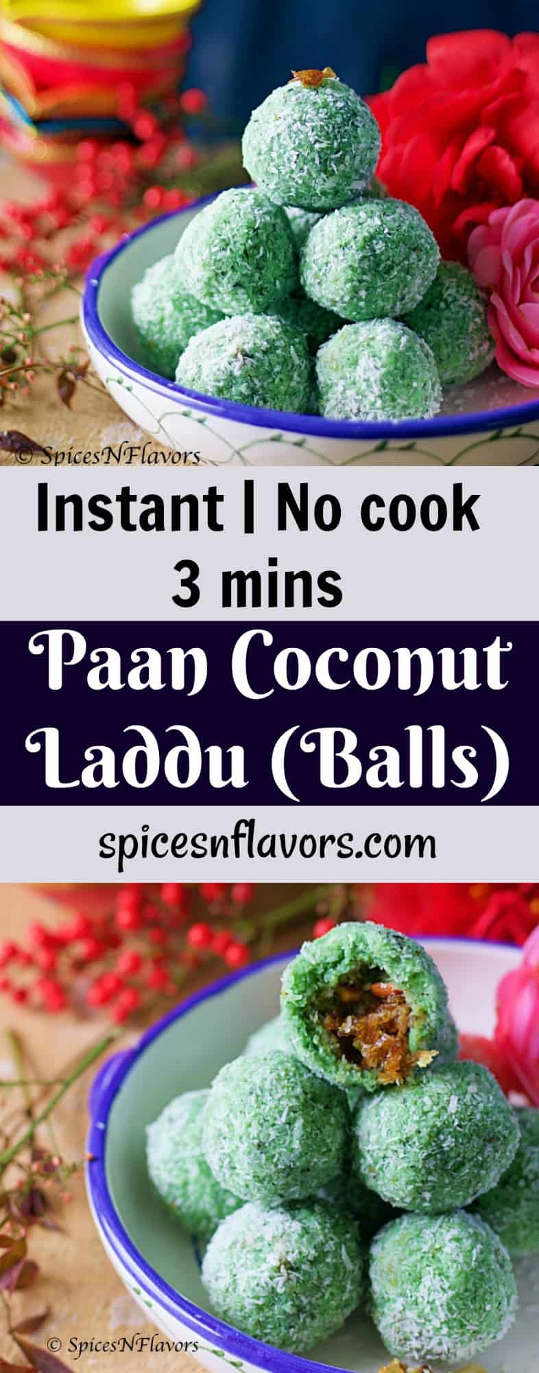 Paan Coconut Laddu, paan laddu, paan laddo, paan coconut laddo, instant laddu, instant laddo, instant coconut laddu, no cook laddu, easy laddu, easy indian sweet, no cook instant laddu, no cook instant paan coconut laddu, how to make laddu at home,