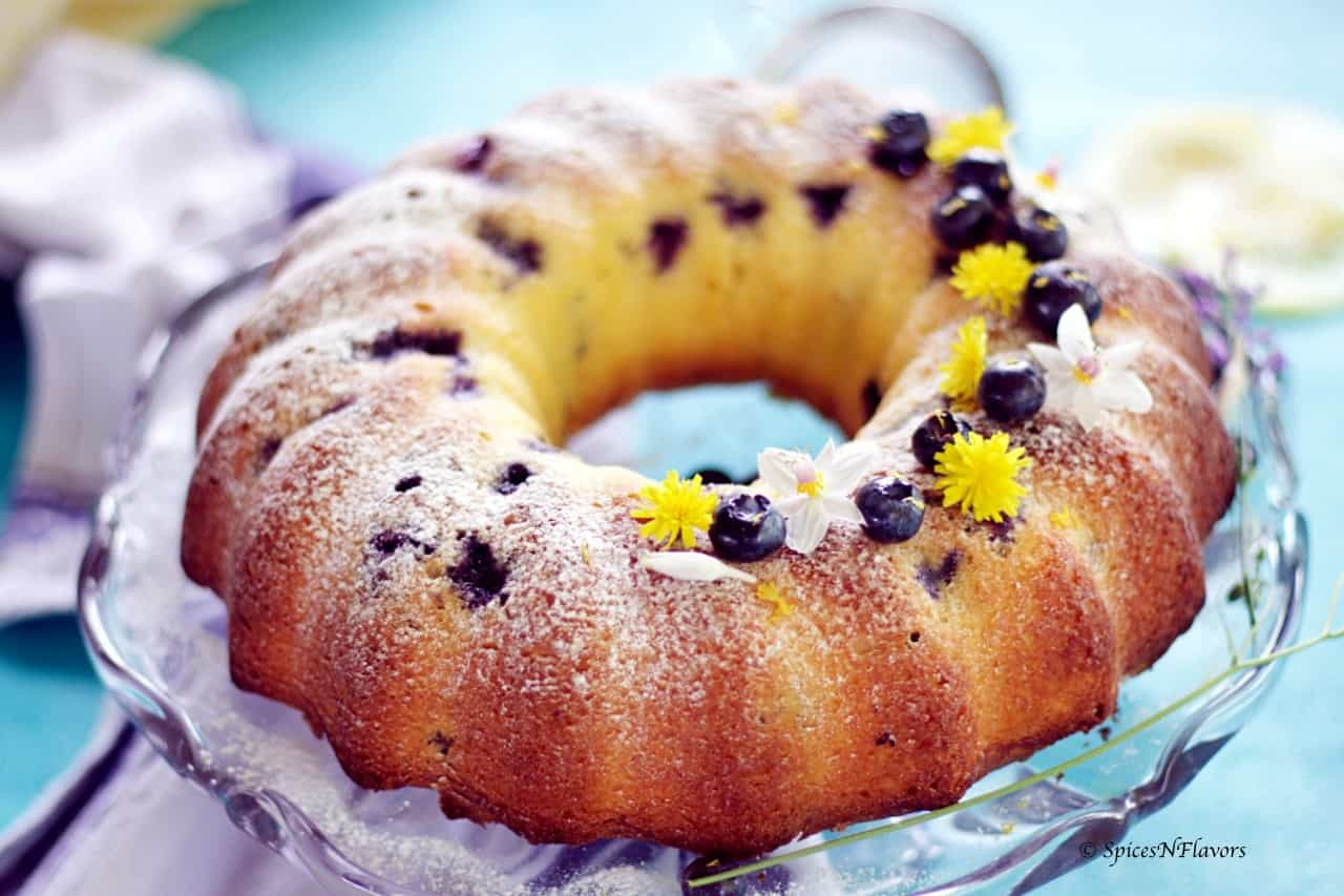 horizontal view of the entire baked blueberry lemon pound cake