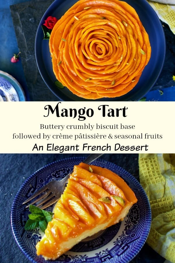 pin image of fresh fruit tart with mangoes