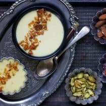 close up horizontal view of baked yogurt or bhapa doi recipe