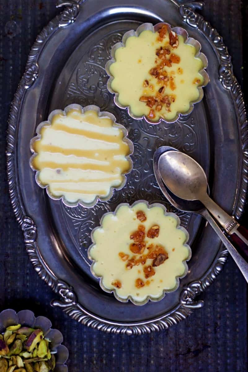 vertical view of bhapa doi or baked yogurt recipe