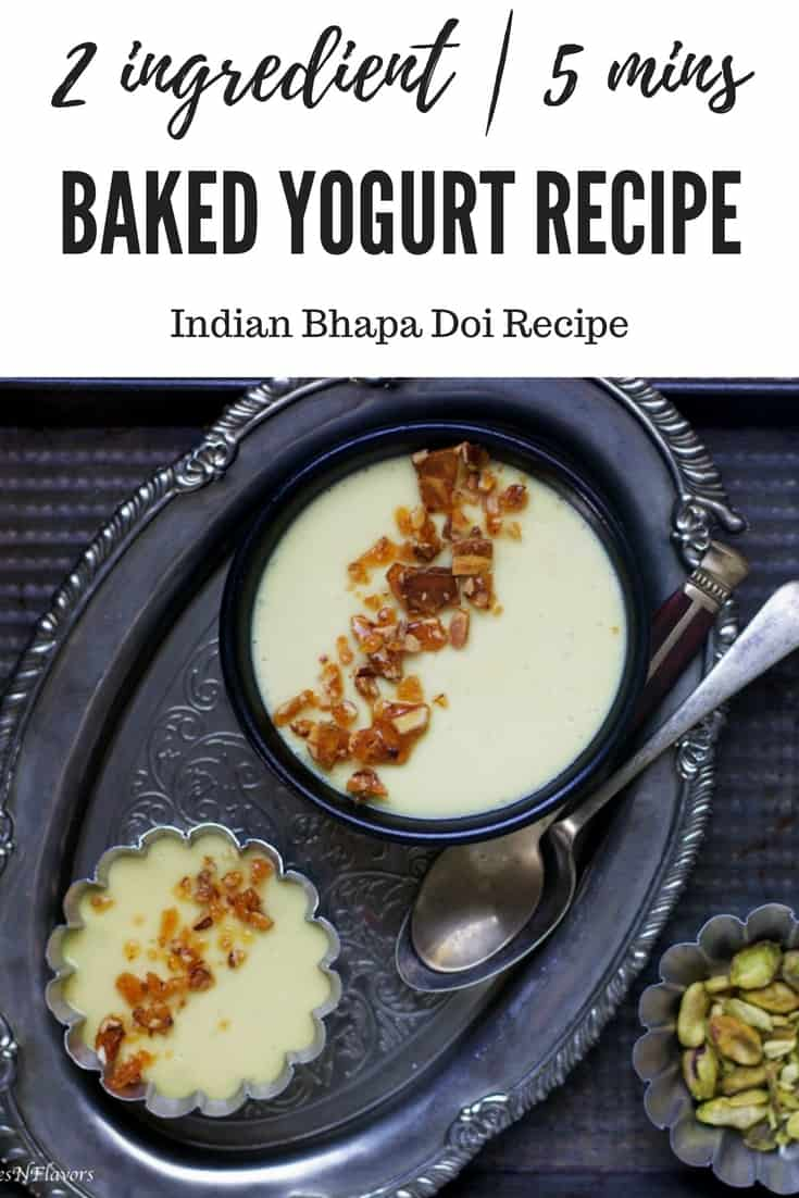 pin image for baked yogurt or bhapa doi