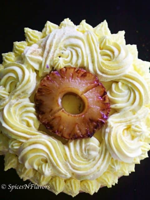 top view of eggless pineapple cake