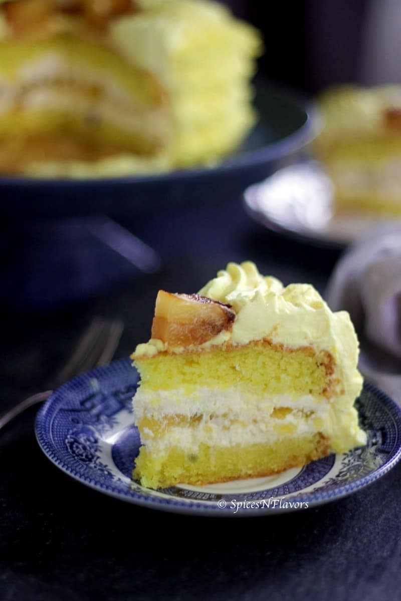 a slice of eggless pineapple cake