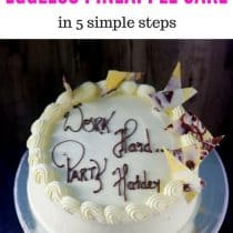 pin image of eggless pineapple cake post