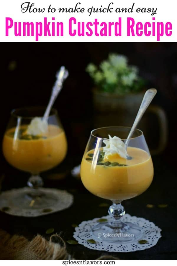 pin image of pumpkin custard garnished with pumpkin seeds and whipped cream served in glasses with spoons