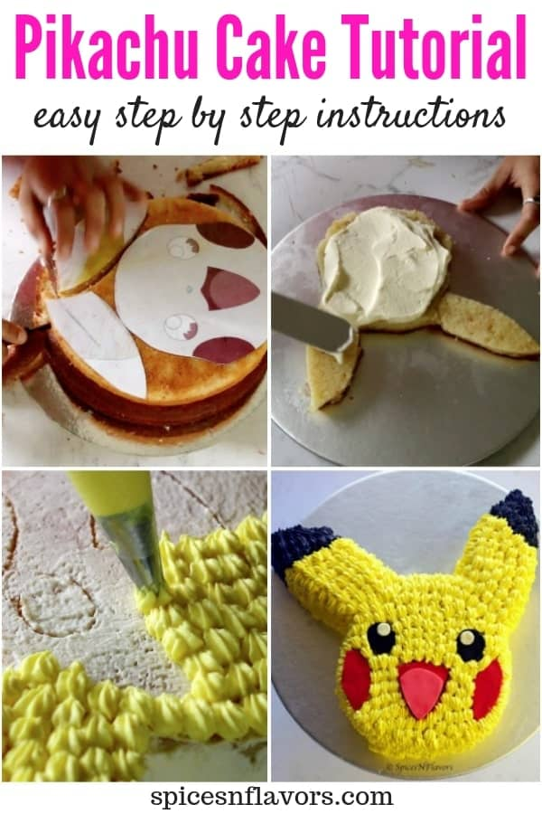 pin image of easy pikachu cake tutorial