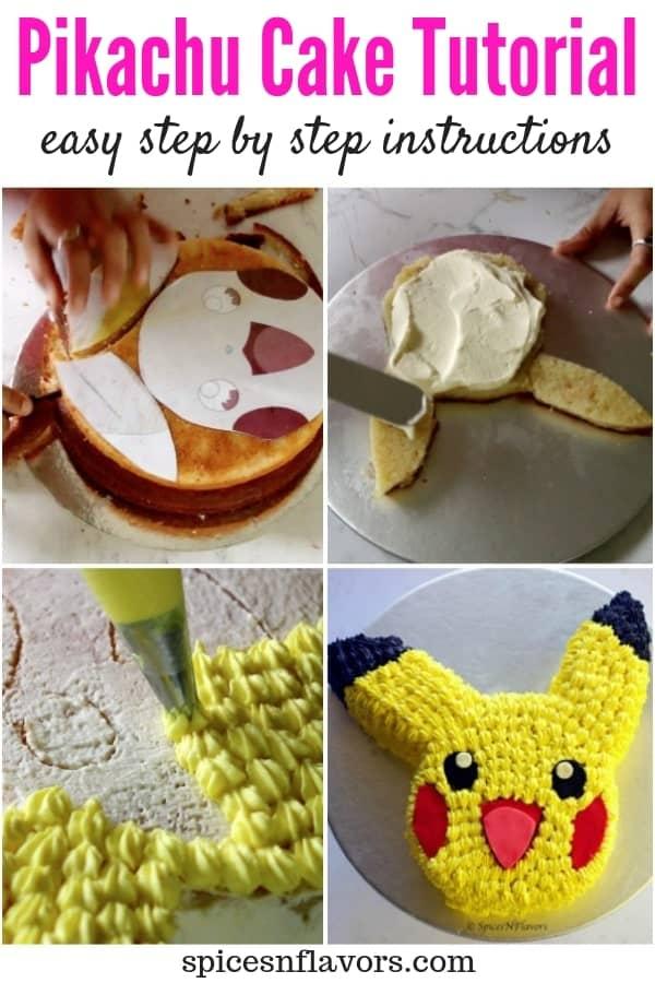 pin image of easy pikachu cake tutorial