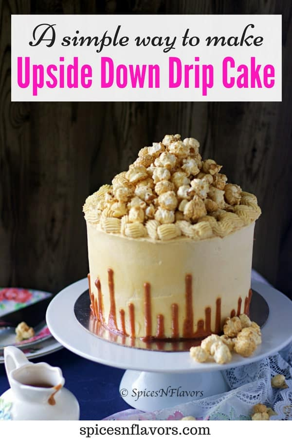pin image of upside down drip cake from eggless chocolate caramel cake