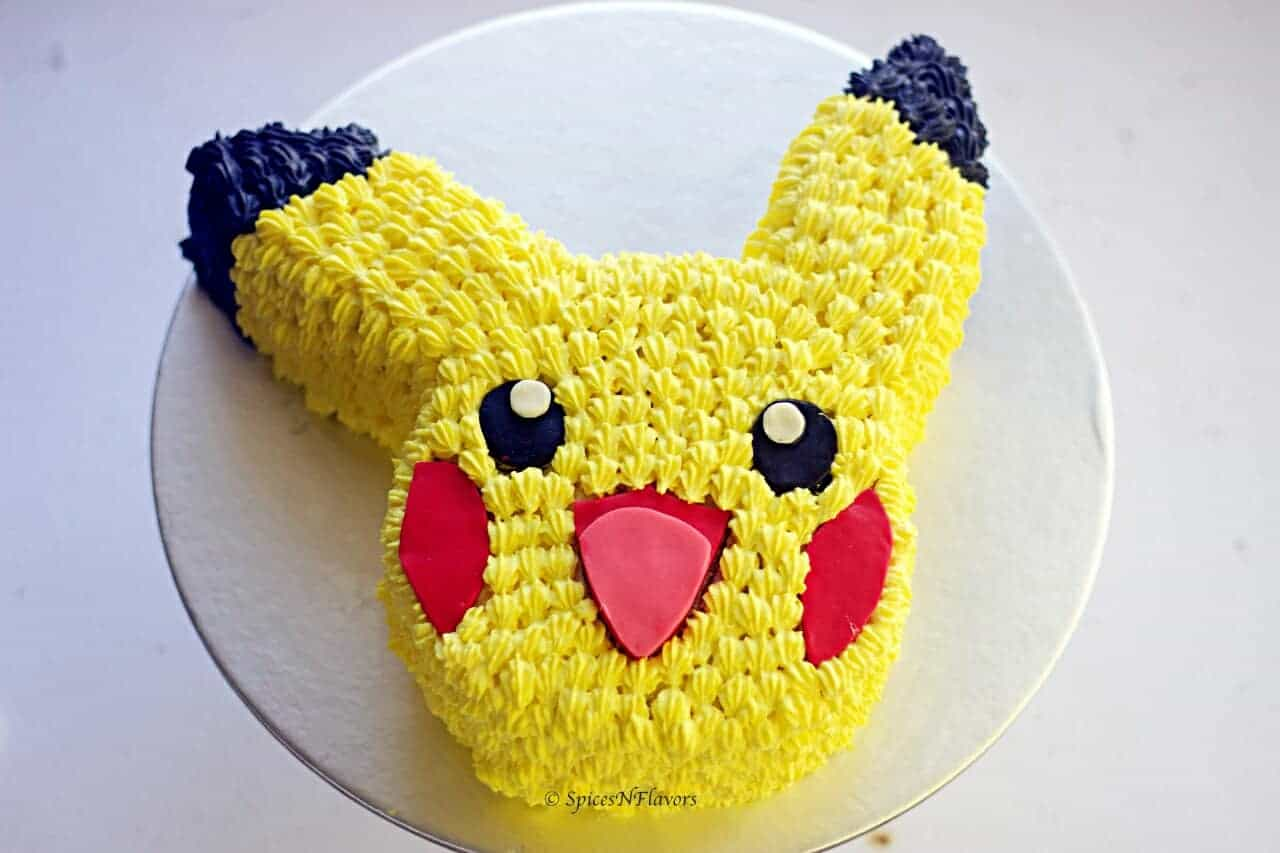 top view of easy pikachu cake tutorial