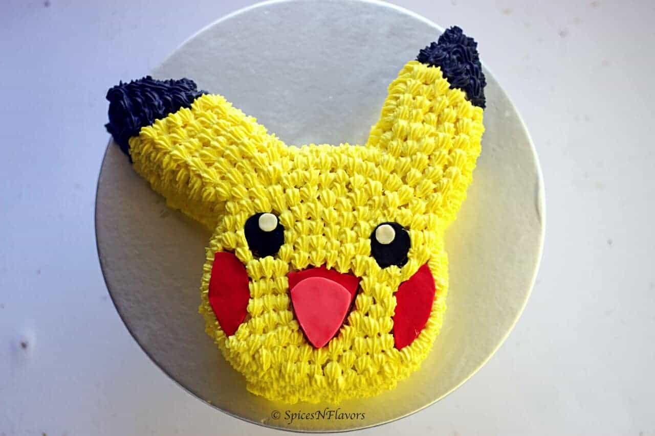 horizontal top view of easy pikachu cake tutorial